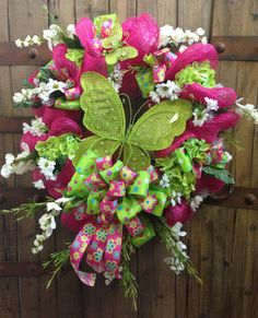 Lime butterfly mesh wreath by WilliamsFloral on Etsy, $95.00