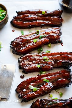 Sticky Chinese BBQ Pork Belly Ribs (Char Siu) We tried this recipe and it got burnt. Need to cook it lesser time or lesser heat next time and it might actually work - Sticky Chinese BBQ Pork Belly Ribs (Char Siu) Recipe on Yummly. Rib Recipes, Asian Recipes, Cooking Recipes, Asian Pork Belly Recipes, Hawaiian Recipes, Smoker Recipes, Barbecue Recipes, Chicken Recipes, Recipies