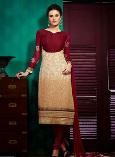 Cream & Wine Indian Punjabi salwar suit in faux gerogette B15391