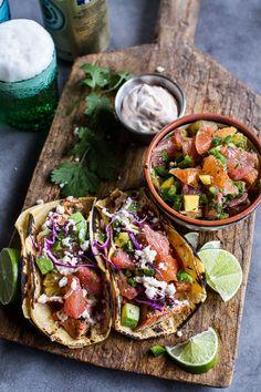 Cuban Fish Tacos with Citrus Mango Slaw + Chipotle Lime Crema | halfbakedharvest.com @hbharvest