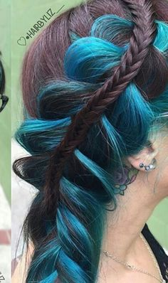 Teal blue braided dyes hair color @hair_faery