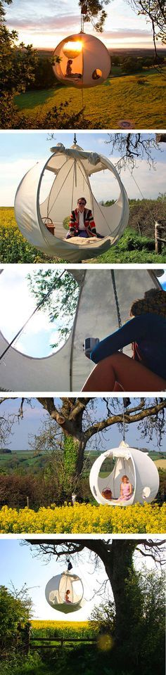 The Hanging Tent Company has produced a suspended tent called the roomoon. Its s… The Hanging Tent Company has produced a suspended tent called the roomoon. Its sphere-shaped, portable tent that hangs among the trees. Suspended Tent, Hanging Tent, Hanging Chairs, Floating Canopy, Outdoor Fun, Outdoor Camping, Diy Camping, Camping Toys, Backyard Hammock