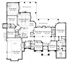 Enlarge Study; Move Fireplace from Dining Room / Grand Living Room to Gathering Room / Family Room; No Game Room. First Floor Plan of Florida   Mediterranean   House Plan 64681