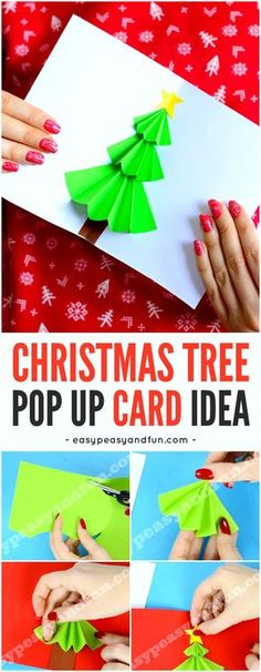 Simple Christmas Tree Pop up Card Craft for Kids. Fun Christmas paper craft activity for kids to make.