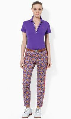 This statementmaking slimfitting pant is crafted from lustrous stretch cotton sateen and features a vivid exotic pattern. Girl Golf Outfit, Cute Golf Outfit, Girls Golf, Ladies Golf, Pants Adidas, Adidas Men, Golf Wear, Golf Pants, Golf Fashion