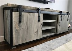 Rustic Industrial Barn Board Media Stand w/ Sliding Doors - This stunning reclaimed wood entertainment center has been crafted from genuine grey weathered roug - Rustic Grey Bedroom, Grey Bedroom Furniture, Furniture Design, Loft Furniture, Furniture Ideas, Lacquer Furniture, Media Furniture, Furniture Removal, Furniture Movers