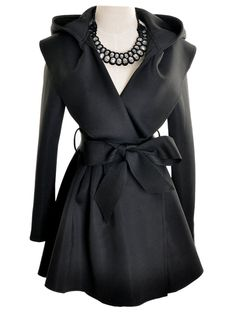 Vintage Black Hooded Longline Coat with Belt | Elite99