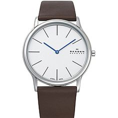 @Overstock.com - This classic watch by Skagen offers a gleaming silver dial with black hourly indices and bluetone hands. A genuine brown leather strap is connected to an oversized bold polished stainless steel case, giving this watch its masculine appearance.http://www.overstock.com/Jewelry-Watches/Skagen-Mens-Brown-Leather-Strap-Watch/6673302/product.html?CID=214117 $87.99