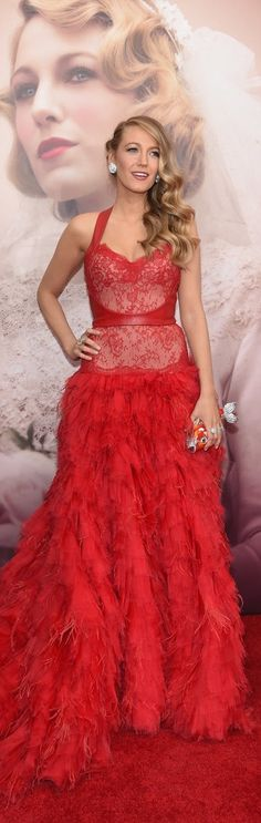 Blake Lively's Red-Hot Monique Lhuillier Gown on the red carpet.