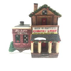 Dick N Dotties General Store Parkers Dairy Lighted Village House 1995 Porcelain #SeasonalSpecialities