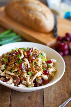 Wheat berries give this salad a whole-grain nutritional boost - Honey Chicken Salad with Grapes and Feta from Pinch of Yum
