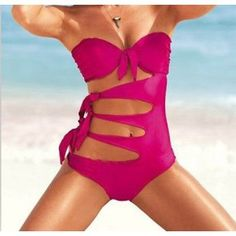 Apparel-Zicac Women Tie Side Push Up Padded Swimsuit One Piece Bikini Swimwear-Product description: Material: 80%nylon 20%lycra 93%polyester 7%spandex ---------linning Sizes: S/M/L S:UK6 ....dhaasuproducts.com