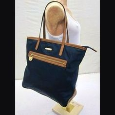 "Michael Kors Blue Navy Saffiano Trim Large 16"" Kempton Handbag Tote Purse  #MichaelKors #TotesShoppers"