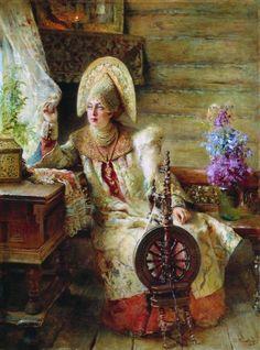 Маковский Константин Егорович (1839-1915).   Боярышня.