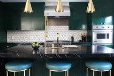 Looking for Eclectic Kitchen ideas? Browse Eclectic Kitchen images for decor, layout, furniture, and storage inspiration from HGTV. Kitchen Trends, Eclectic Kitchen, Kitchen And Bath, Kitchen Decor, Modern Kitchen, Contemporary Kitchen, Green Kitchen Cabinets, Stools For Kitchen Island, Kitchen Design