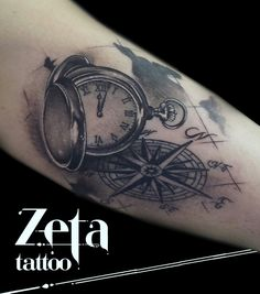 By Ezequiel Pastor:map tattoo,tatuaje,brujula,rosa de los vientos,compass,clock,watch,tattoos https://www.facebook.com/pages/Zeta-Tattoo/429039373884070