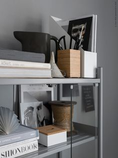 grey and wood office storage inspiration by IKEA – toptrendpin. Flat Interior, Interior And Exterior, Interior Design, Interior Styling, Interior Architecture, Interior Decorating, Ikea Storage, Storage Spaces, Office Storage