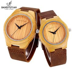 950ccfc00da SILILUN® Lovers Eco Natural Handmade Bamboo Wooden Women Men Genuine  Leather Strap Couples Watch     Quickly view this special product