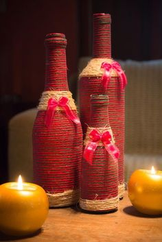Lindo Kit com 3 garrafas decoradas em estilo natalino!