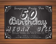SURPRISE 40th BIRTHDAY INVITATION Chalkboard by UniqueGoldenCards 40th Birthday Invitations, Chalkboard Quotes, Art Quotes