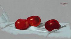 Três maçãs. Pintura digital, 2014.