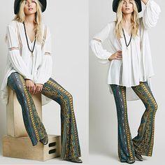 2015 venta Newly Hot Boho pantalones pantalones de campana inferior Paisley imprimir Stretch llamarada Boho Hippie pantalones de estilo pantalones en Pantalones y Capris de Moda y Complementos Mujer en AliExpress.com   Alibaba Group