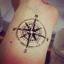 Simple compass tattoo 44