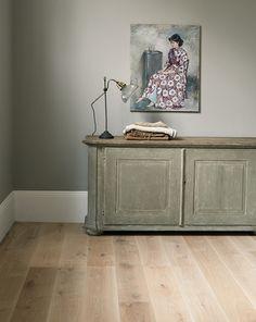 Fired Earth, Woodland Wild Mushroom Engineered Oak floor and Oak Apple walls