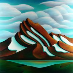 Tilted Mountain 36 x 36 2011 oil on canvas Abstract Drawings, Abstract Art, Naive, Canadian Art, Traditional Paintings, Whimsical Art, Silk Painting, Painting Art, Landscape Art