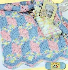 Baby Blocks Crocheted Blanket LW1299 | Free Patterns I don't know if I will ever try this one, but it looks really cool!