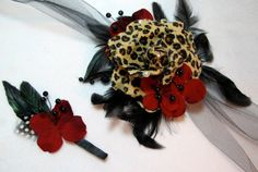 Leopard and Red Corsage and Boutonniere Set