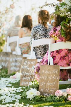 1 Corinthians 13 along the aisle in calligraphy.  Photography by saraandrocky.com  Calligraphy: Abany Bauer, Brown Linen Designs.  Read more - http://www.stylemepretty.com/2013/08/08/laguna-beach-wedding-from-sara-and-rocky-photography/
