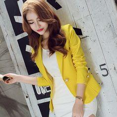 5f5cf48e051 New Long-Sleeved Slim Women Blazers And Jackets Small Women Suit Korean  Version Slim (Green Yellow Black) Ladies Blazer Femme
