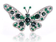 Emerald Green Milk White Opal Crystal Rhinestone Butterfly Moth Bug Pin Brooch