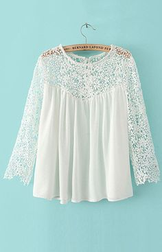 Loose Fit Transparent Lace Chiffon Blouse – Trendy Road