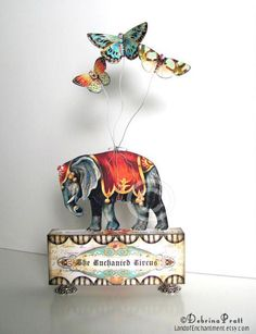 The Enchanted Circus Elephant Butterflies Carnival Original nursery decor Vintage Style Art Collage Altered Art Block. via Etsy. Circus Crafts, Circus Art, Circus Theme, Circus Room, Circus Birthday, Birthday Parties, Vintage Circus Nursery, Vintage Nursery Decor, Diy Crafts Vintage