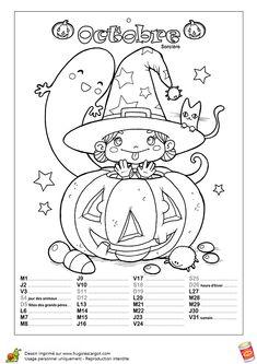 Le mois d'octobre est le mois des déguisements et des citrouilles de Halloween, coloriage de calendrier