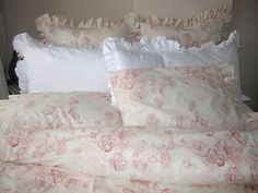 Custom made Bedding Ruffle shams Cal King Duvet cover Pink shabby chic beach cottage style pastel floral print KIMBERLEY 7 pcs