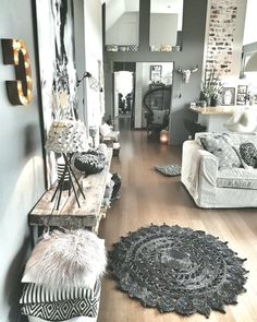 Cute living room - Decoration For Home Cute Living Room, Beautiful Living Rooms, Living Room Colors, Living Room Decor, Classy Living Room, Bohemian Living Rooms, Living Room Color Schemes, Decor Room, Living Room Grey