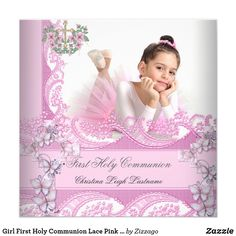 Shop Girl First Holy Communion Lace Pink Photo Invitation created by Zizzago. Personalize it with photos & text or purchase as is! First Communion Invitations, Christening Invitations, Baby Shower Invitations, Birthday Invitations, Butterfly Invitations, Photo Invitations, Custom Invitations, Photo Rose, Pink Photo