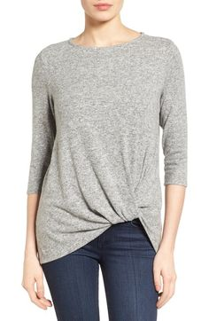 Gibson Twist Front Cozy Fleece Pullover (Regular & Petite) available at #Nordstrom