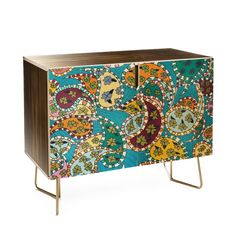 Rosie Brown Painted Paisley Blue Credenza | Deny Designs