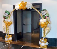 Champagne arch for entrance to wedding venue