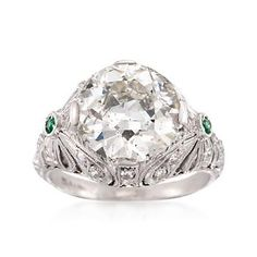 Ross-Simons - C. 1990 Vintage 4.31 ct. t.w. Certified Diamond Ring With Emeralds in Platinum. Size 4.75 - #834523