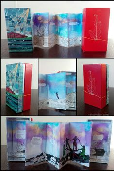 Mountain Book Box - Open and Closed - Miriam Barr, Reversible poetry art book destined for exhibition in March/April at Studio One Toi Tu in Auckland NZ. Book Boxes, Accordion Book, Blackout Poetry, Poetry Art, Handmade Books, Leaf Art, Auckland, Word Art, Creative Ideas