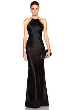 Image 1 of Calvin Klein Collection Fawn Satin Silk Charmeuse Gown in Black