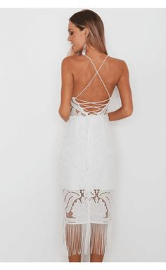 This dress is so feminine and flattering featuring floral lace, crossed back and slim fit design. Two color can be chosen at AZBRO.com
