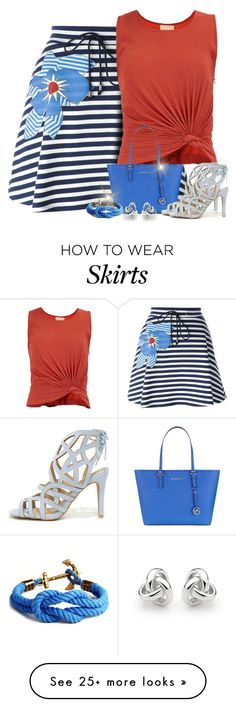 """""""Navy Striped Skirt"""" by majezy on Polyvore featuring Jil Sander Navy, MICHAEL Michael Kors, Qupid and Georgini"""