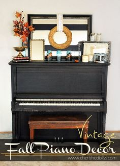 You can easily browse through your house, your yard, and a craft store to find vintage inspired fall decor for your piano and music studio  #seasonal #fall #upright