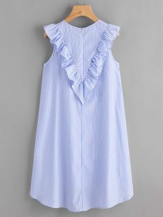 Shop Zip Back Ruffle Yoke Striped Dress online. SheIn offers Zip Back Ruffle Yoke Striped Dress & more to fit your fashionable needs. Simple Dresses, Blue Dresses, Casual Dresses, Short Dresses, Fashion Dresses, Girls Dresses, Dresses With Sleeves, Summer Dresses, Tunic Dresses